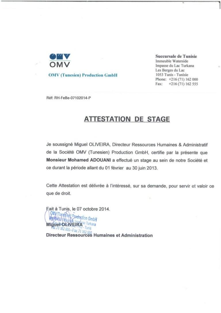 Attestation de stage OMV