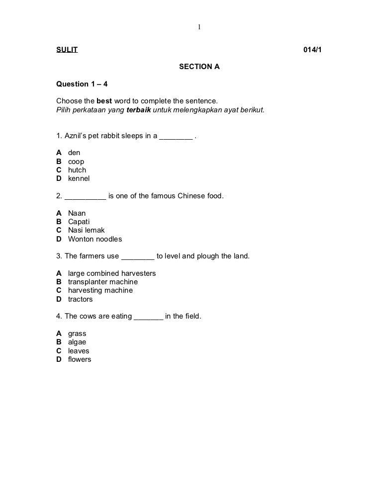 Soalan Ujian Bulanan Bahasa Inggeris Tahun 4 J Kosong R