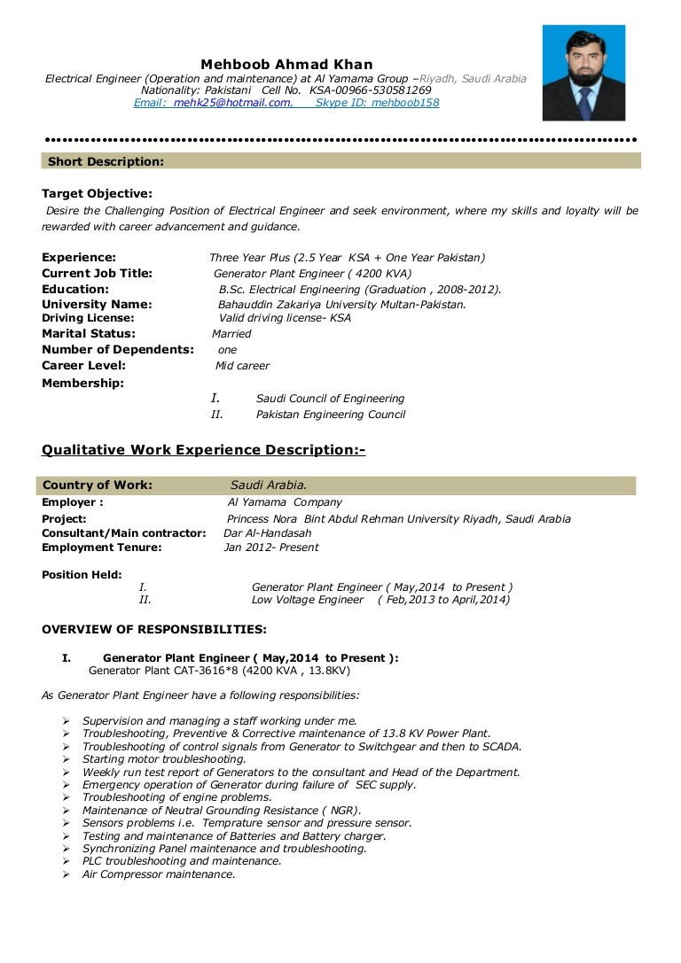 CV, Electrical Engr