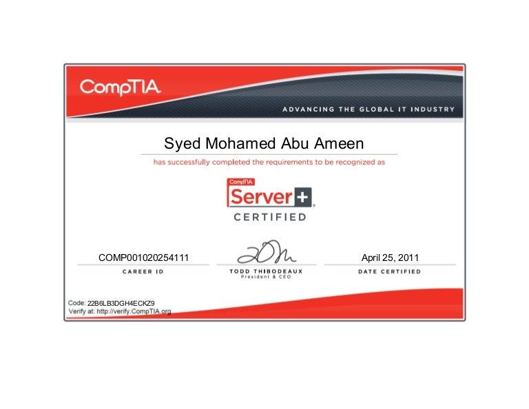 CompTIA Server+ certificate