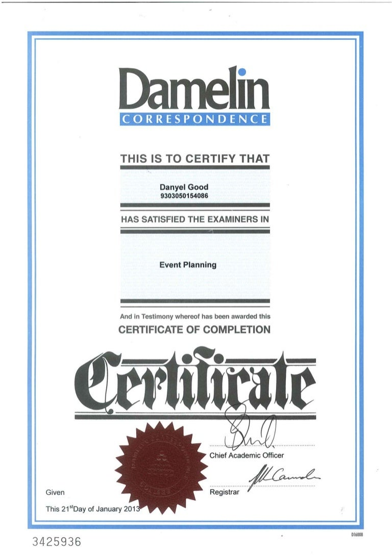 Danyel damelin certificate for events planning 2013 1betcityfo Choice Image