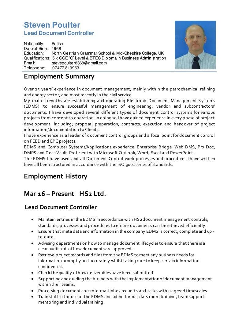 resume steve poulter document control