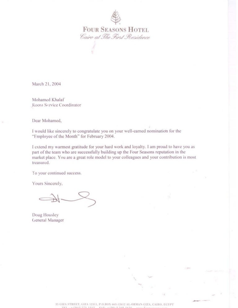 Four Seasons employee of the month letter in 2004PDF