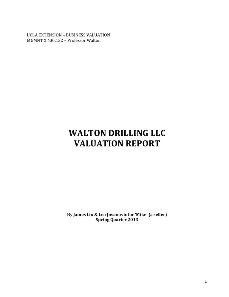 Writing Sample  Valuation Report