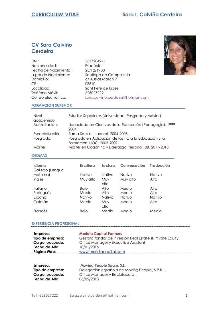 CV Sara Calviño.Cerdeira. Simple 2017