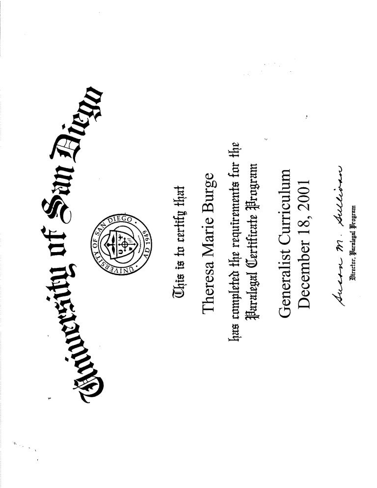 Usd Paralegal Certificate