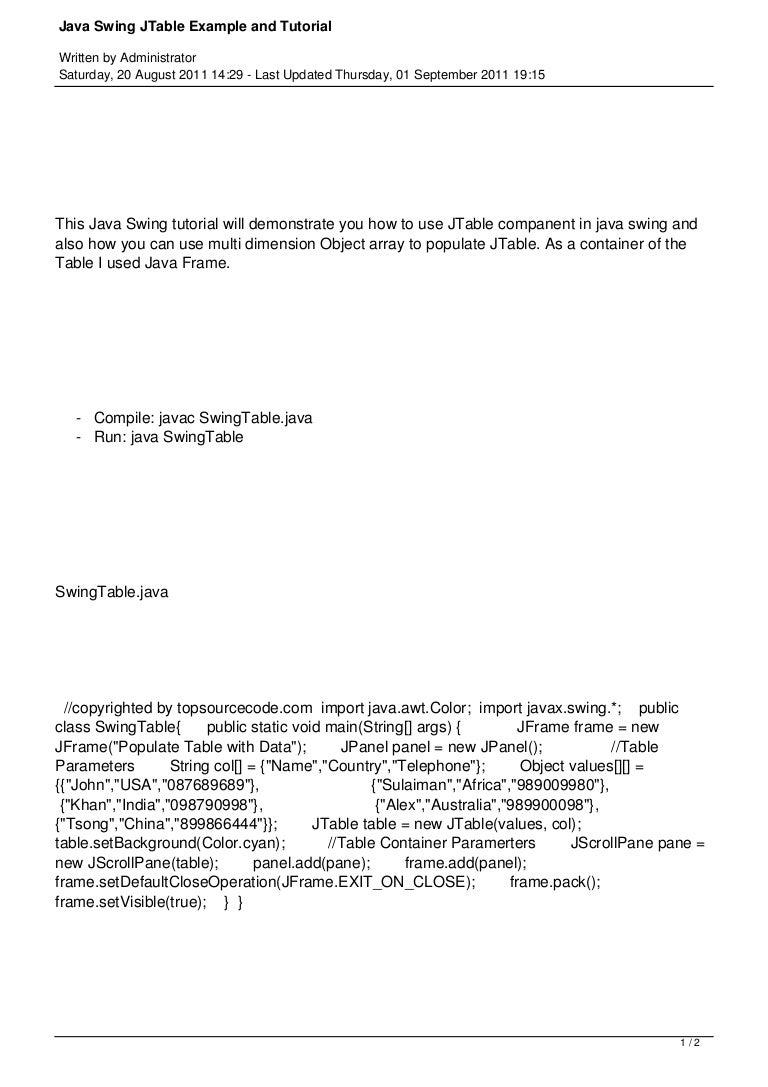 94 java swing jtable example and tutorial baditri Choice Image