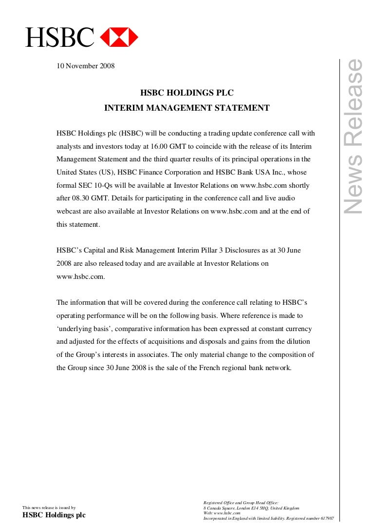 Hsbc Media Release Front Page Interim Management Statement