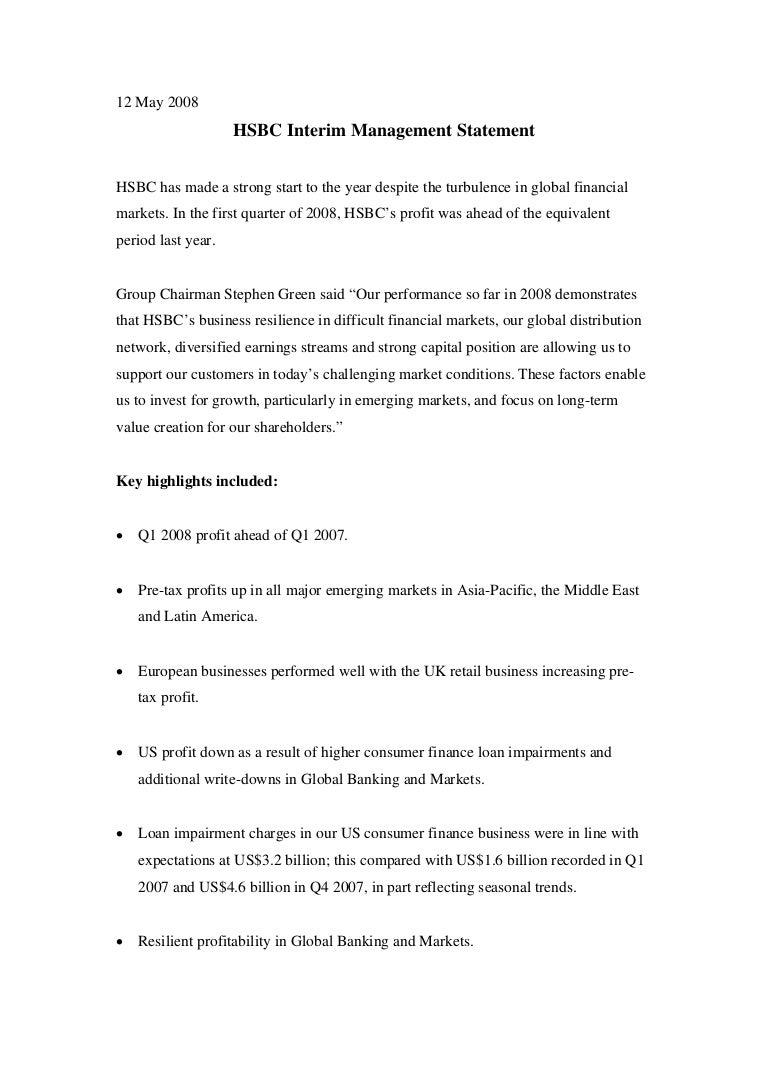 HSBC media release front page Interim Management Statement