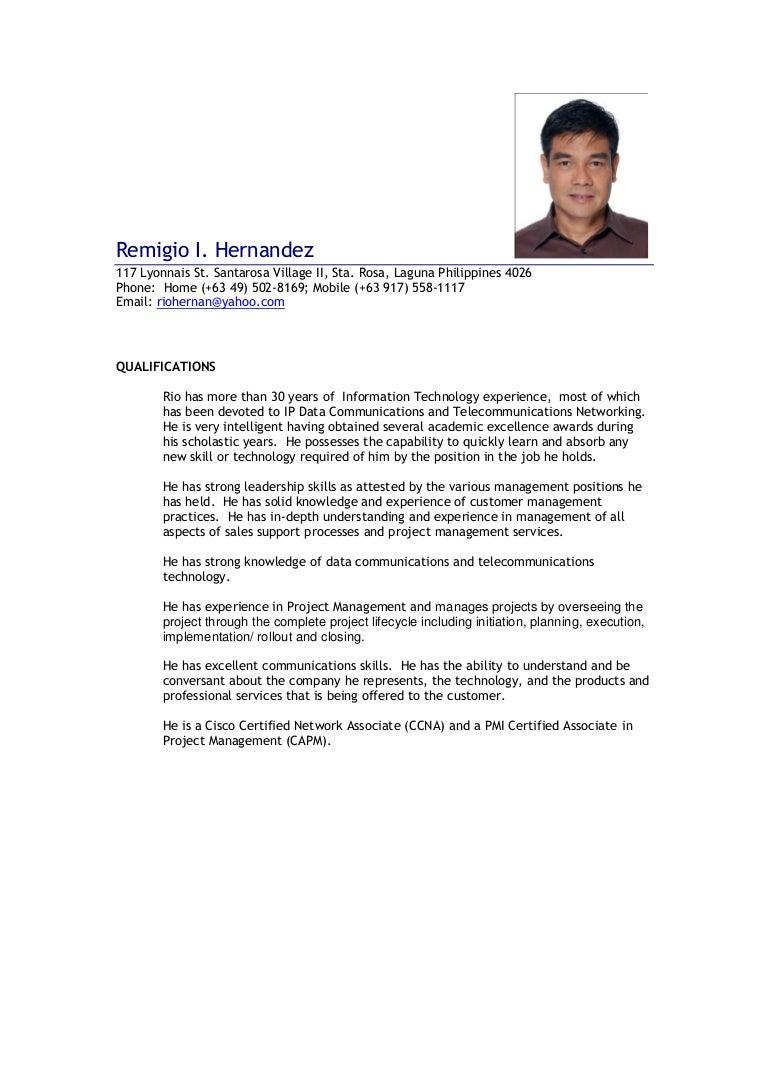Resume Remigio Hernandez October 2016