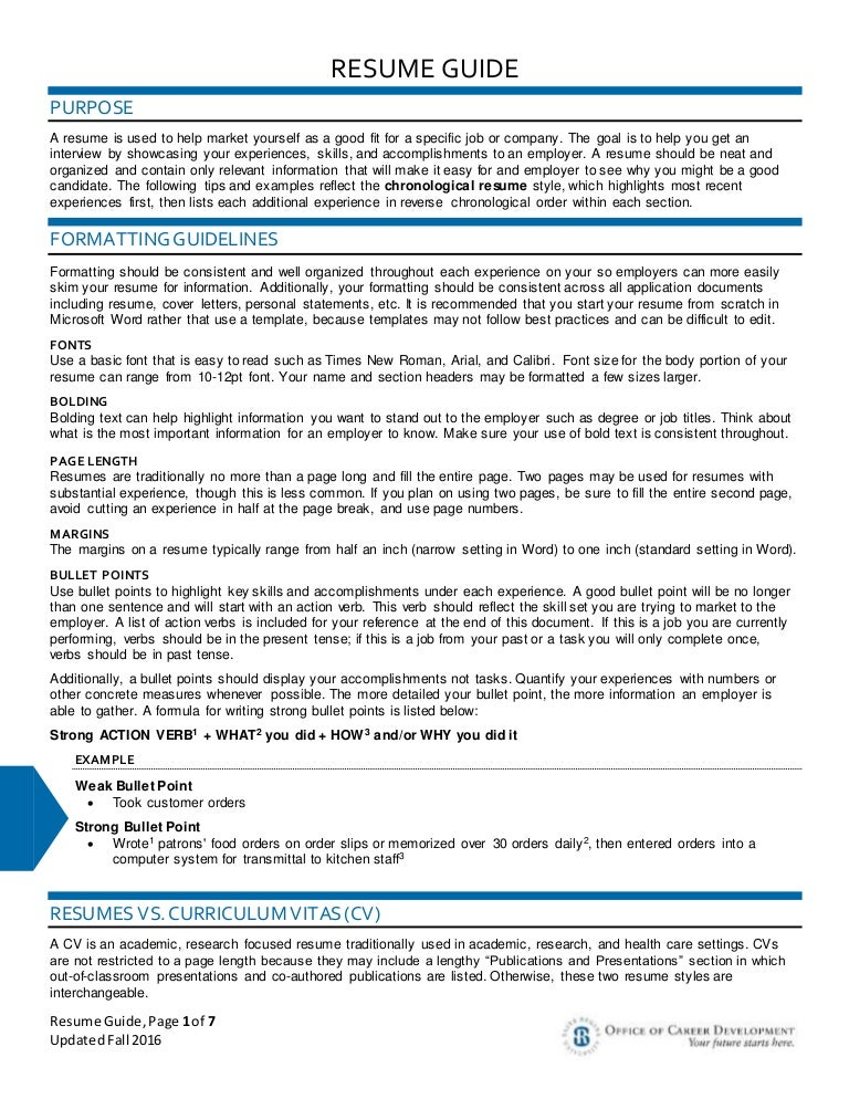 Page Numbers On A Resume The Best Way To Write One Page Resume