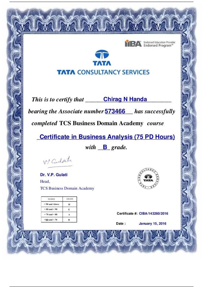 certificate iiba