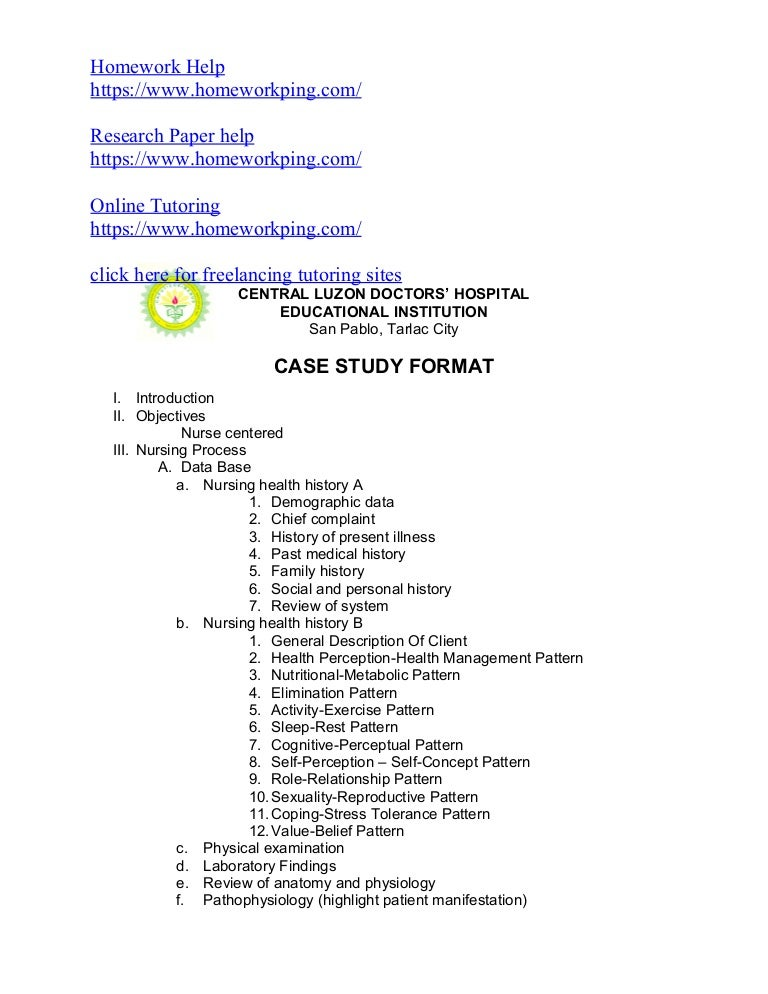 Sample case study format nursing how to write a nursing case.