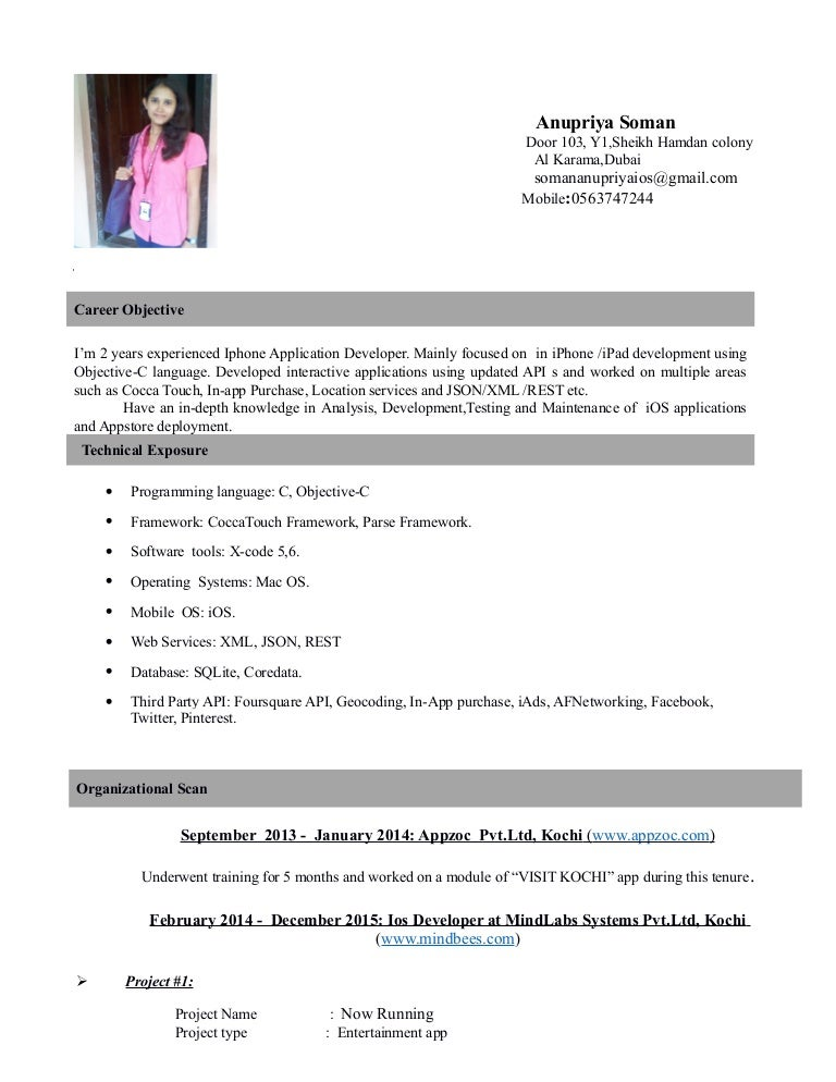 Anupriya iOS Dev Resume