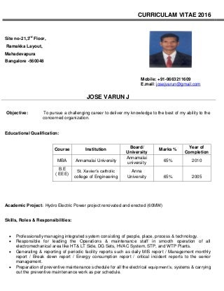 facility manager   linkedinjose varun technical   assistant facility manager  resume