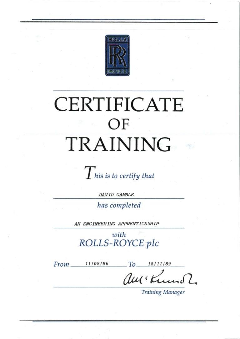 Rolls royce certificate of training xflitez Choice Image