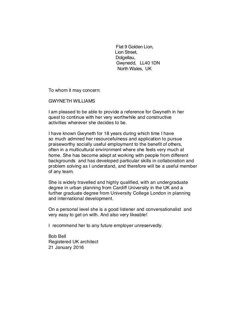 Reference Letter Format For Uk University.  Gwyneth reference letter