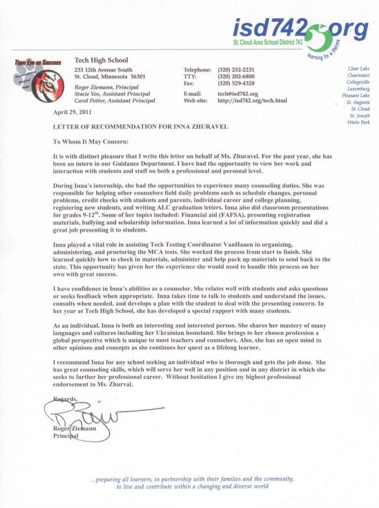 Letter Of Recommendation For School Counselor Job Image Collections