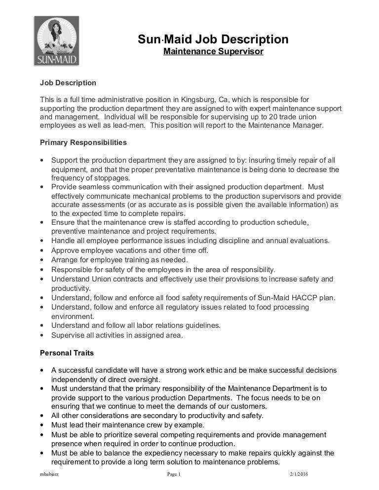 SunMaidMaintenance SupervisorJob Description