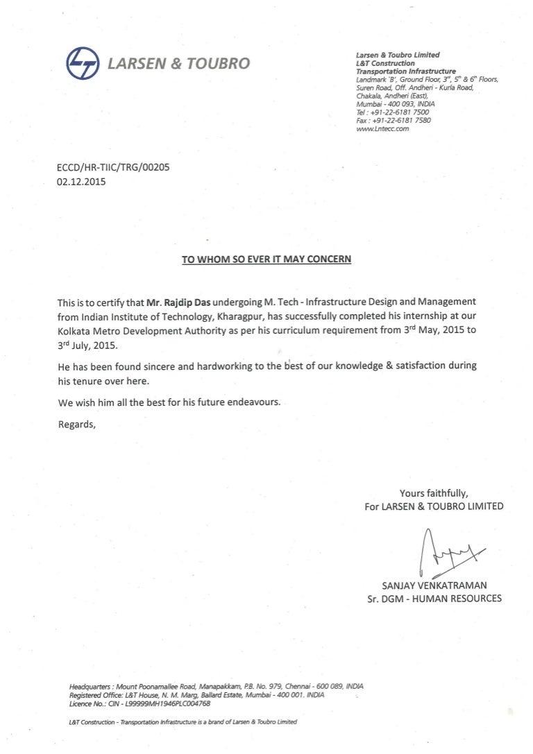 L Amp T Internship Completion Letter