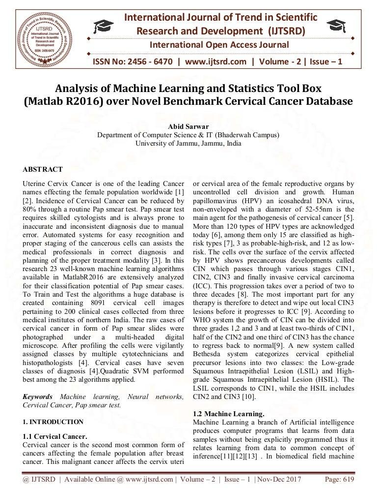 Analysis of Machine Learning and Statistics Tool Box (Matlab