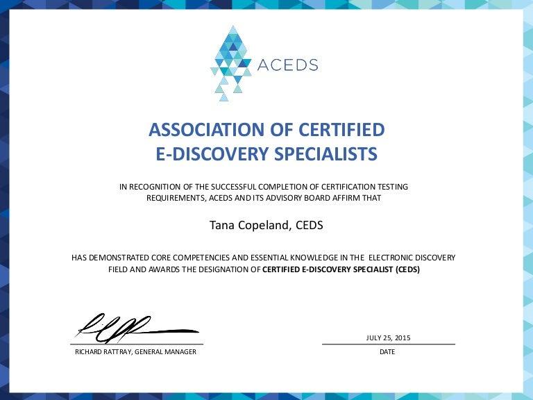 Ceds Certificate For Tana Copeland