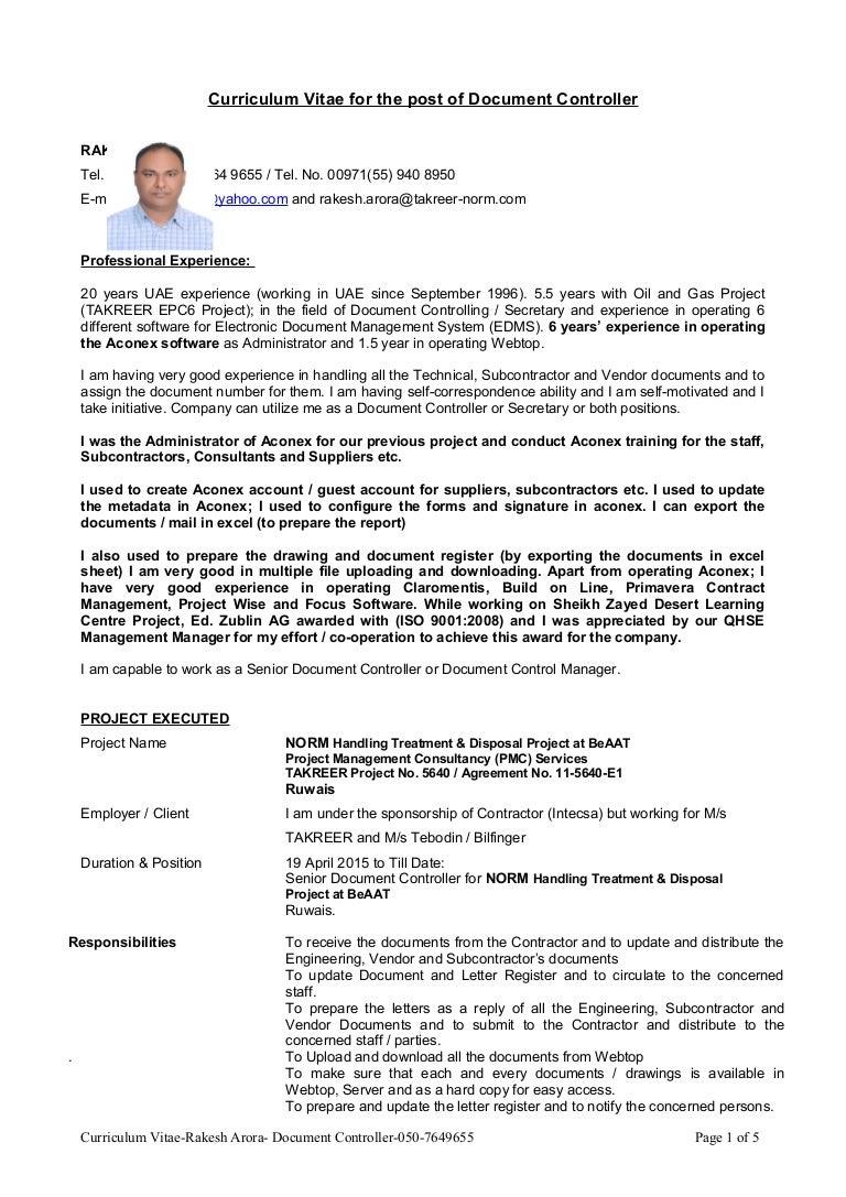 curriculum vitae document controller total 20 years uae experience 6