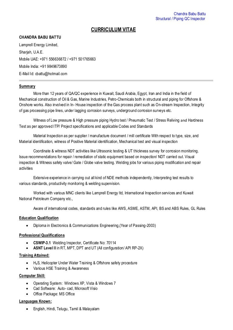 Ndt Inspector Resume Sample - Professional User Manual EBooks •