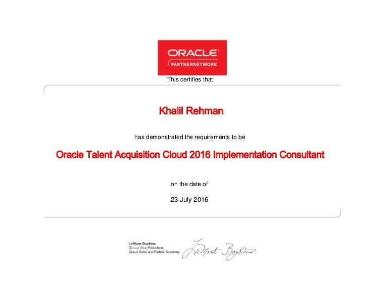 oracle talent acquisition cloud 2016 implementation consultant certif - Talent Acquisition Consultant