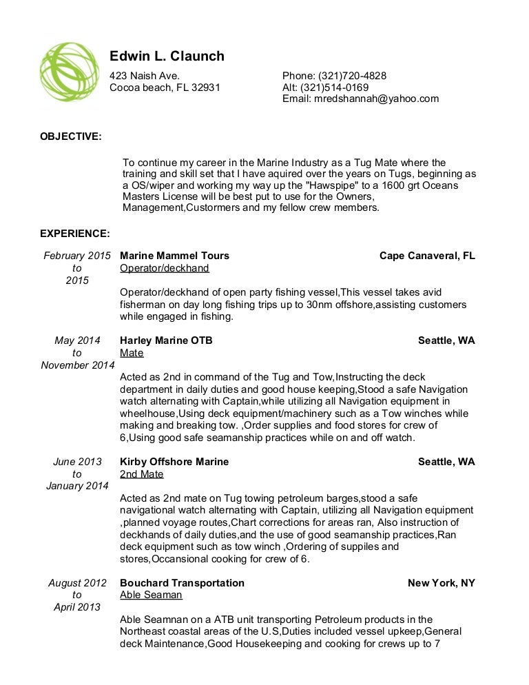 Deckhand Resume Image Collections Resume Format Examples 2018