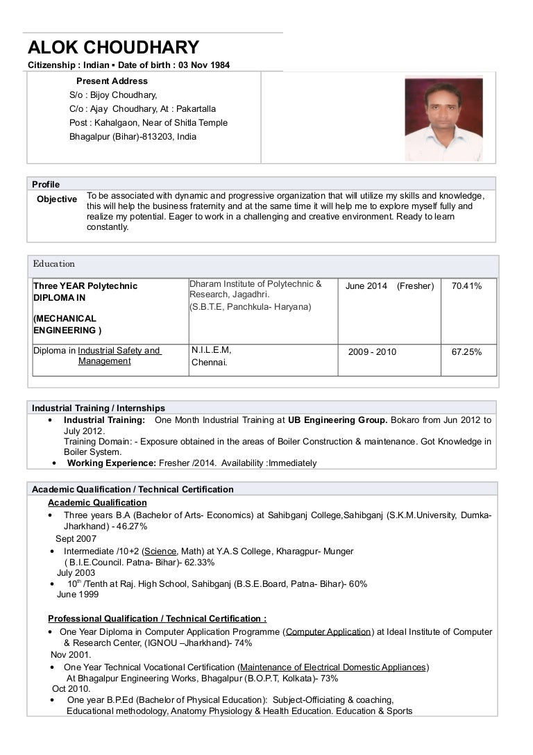 CV_ Resume (ALOK Choudhary_DIPLOMA_Mechanical Engineering) _Fresher_2…