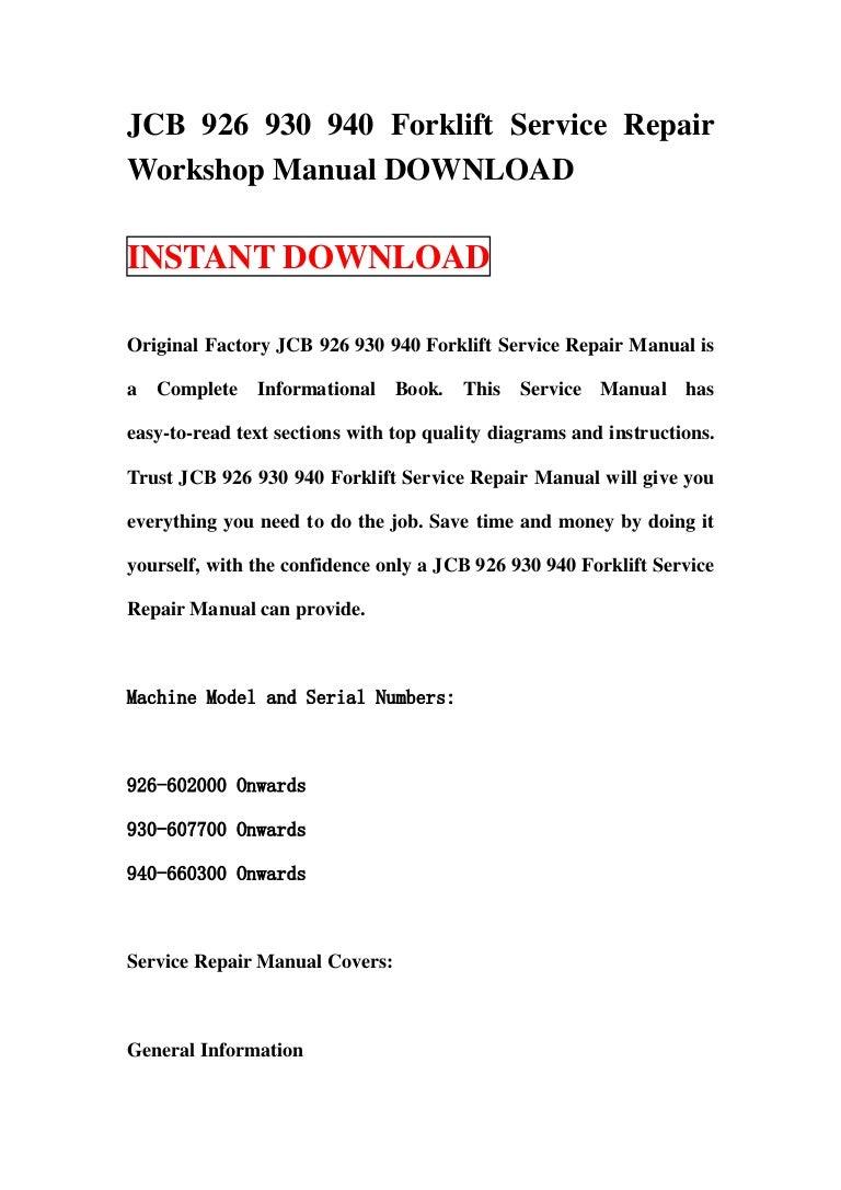 Jcb 930 Forklift Wiring Diagram 520 940 926 Service Repair Workshop Manual Download On