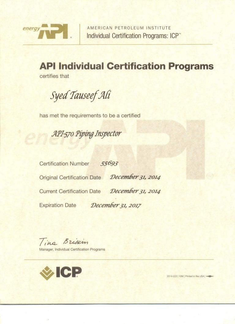 api 570 certificate certification