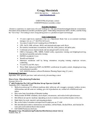 production supervisor resume - Manufacturing Supervisor Resume