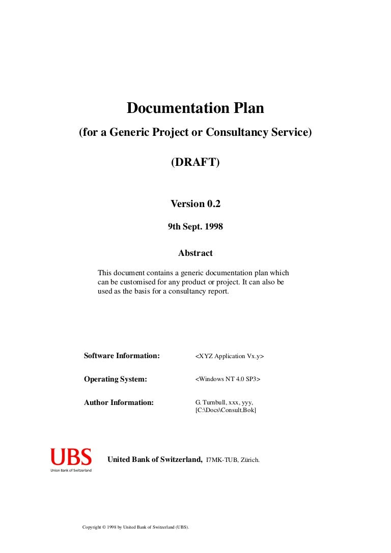 Documentation Plan Example