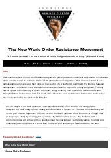 Nwo resistance