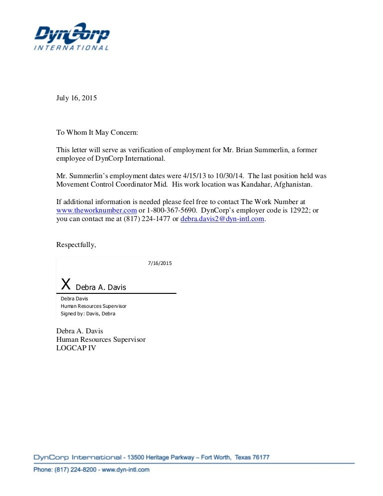 DynCorpVOE – Sample of Employment Certification Letter