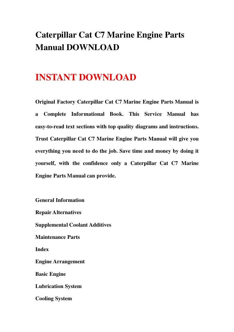 Caterpillar Cat C7 Marine Engine Parts Manual DOWNLOADSlideShare