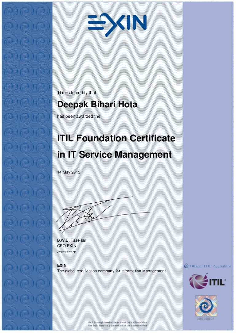 Certificate itil v3 foundation xflitez Gallery