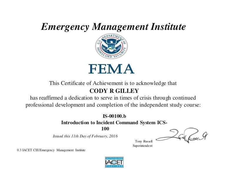 IS 00100 B Introduction To Incident Command System ICS 100