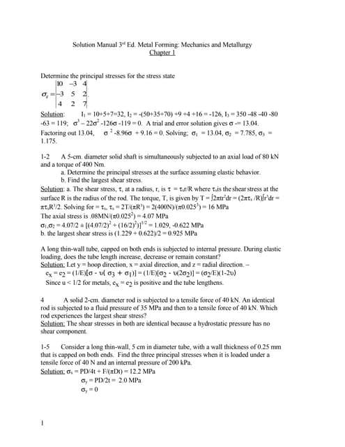 solution manual 3rd ed metal forming mechanics and metallurgy chapte rh slideshare net