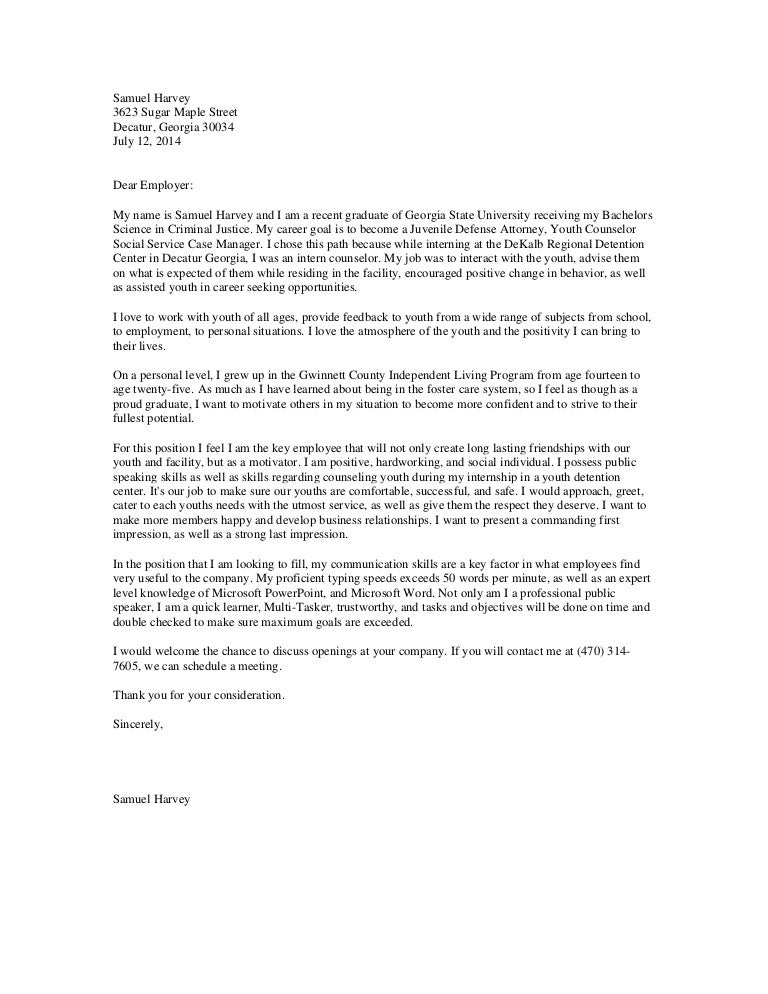 HarveyS-youth counselor Cover letter