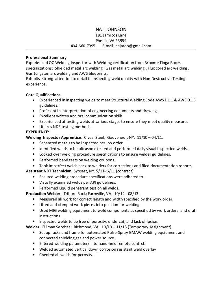 naji johnson welding inspector resume 1