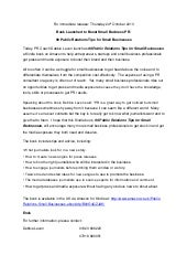 99 public relations tips for small businesses - press release 24 October 2013