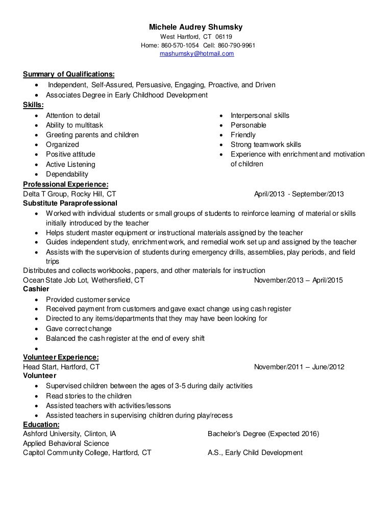 michele audrey shumsky childcare resume linked in