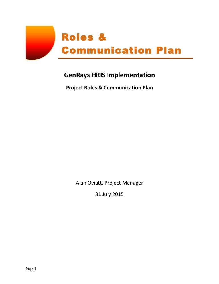 Mgt  Genrays Project Roles  Communication Plan