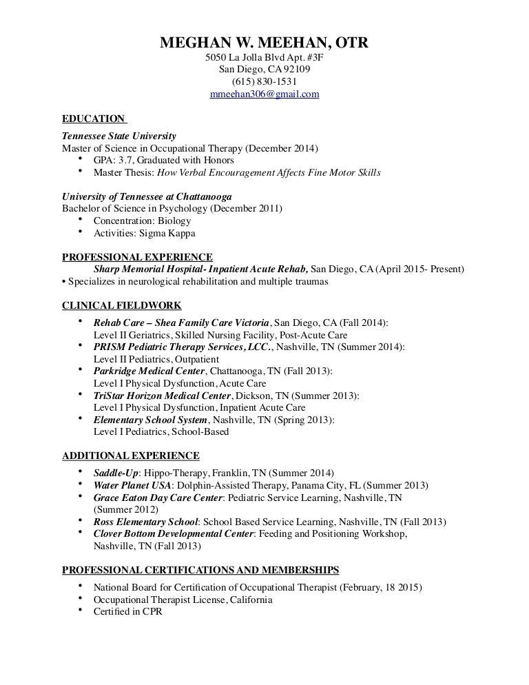 Occupational Therapy Resume - Template Examples