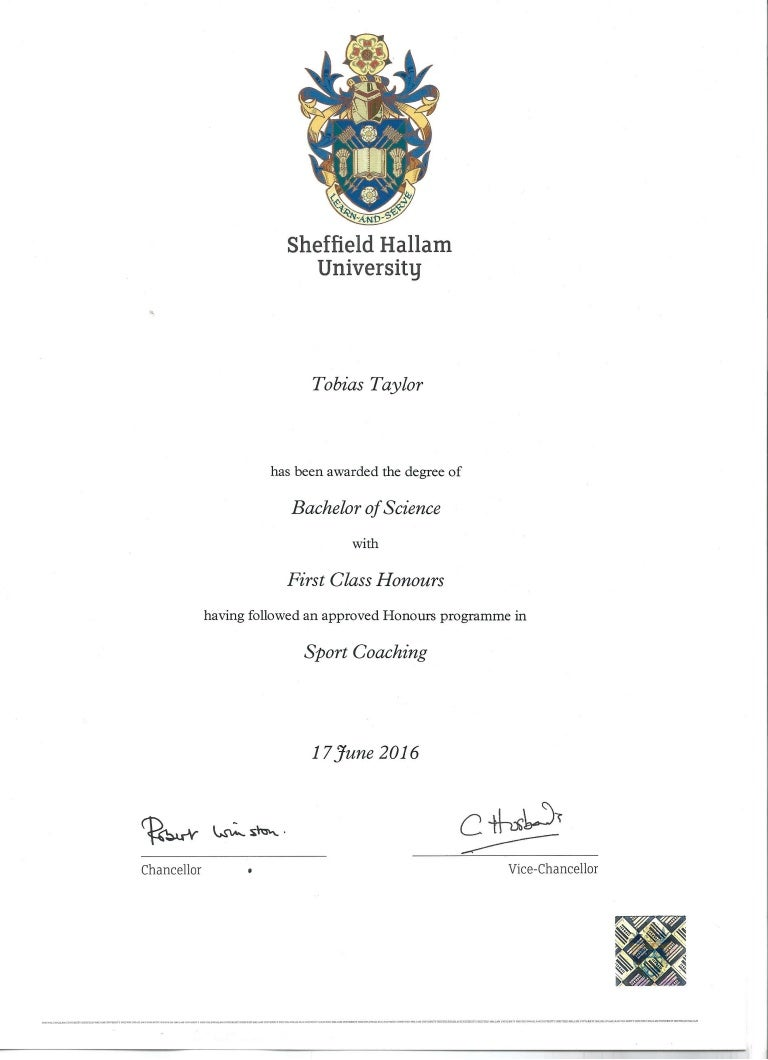 bsc first class honours degree sport coaching page