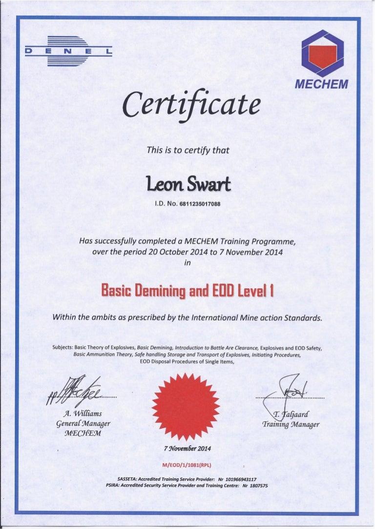 eod level 1 certificate