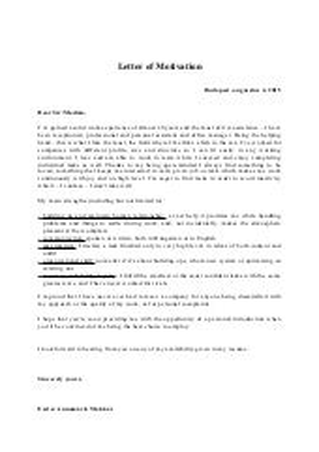 sample job motivation letter